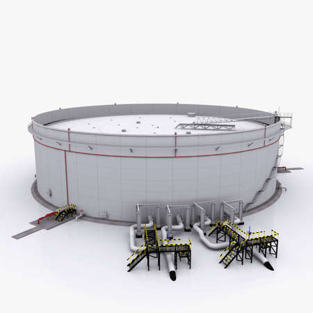 gas tank: Large oil tank with floating roof  Isolated on white background Stock Photo