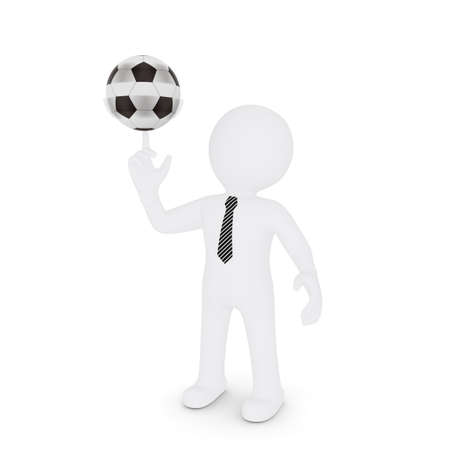 The white man turns on his finger football  Isolated on white background photo