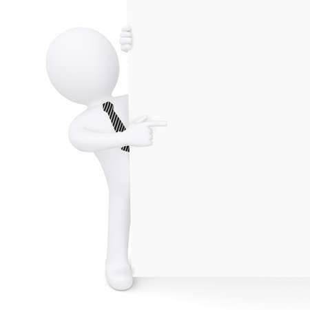 The white man looks because of the white wall and points a finger at her  Isolated on white background photo