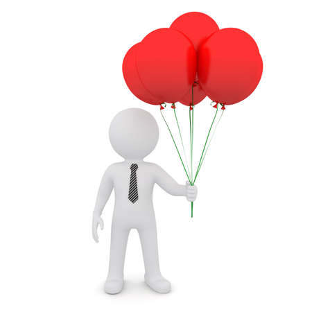 The white man is holding red balloons  Isolated on white background photo