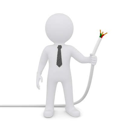 The white man holding a white power cord  Isolated on white background