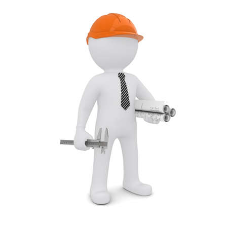 The white man in an orange helmet is a drawing and a caliper  Isolated on white background