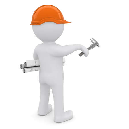 construction worker cartoon: The white man in an orange helmet with the drawings indicate the forward hand  Isolated on white background Stock Photo