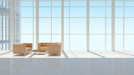 office interior design: The interior of an office building  The blue sky background