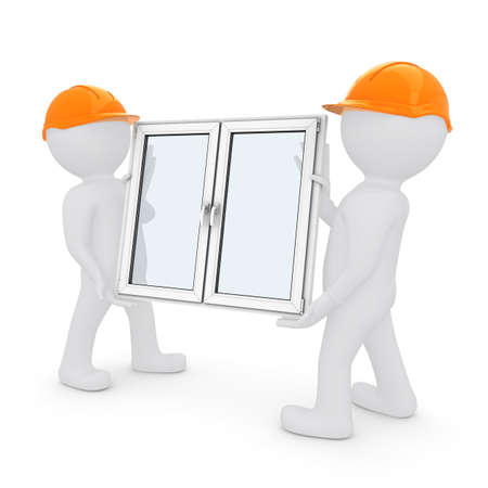Two workers in orange hard hats have plastic window  Isolated on white background photo