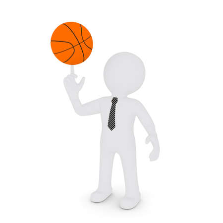The white man keeps his finger on a basketball  Isolated on white background photo