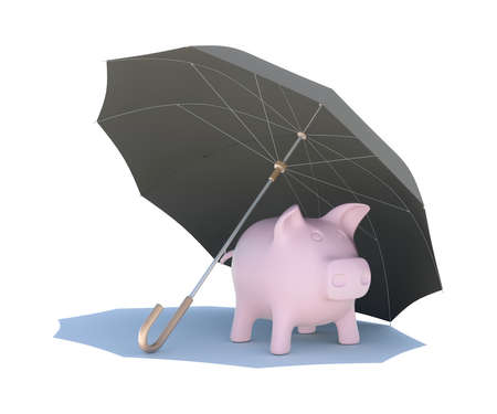 Umbrella covering the pink piggy bank  Isolated on white background photo