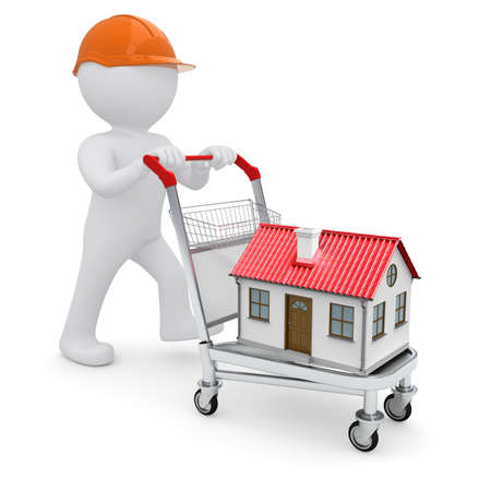 sold small: Un uomo bianco in un casco e una casa sul carrello isolato su sfondo bianco