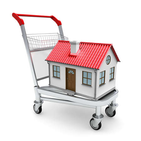 House on the trolley  Isolated on white background photo