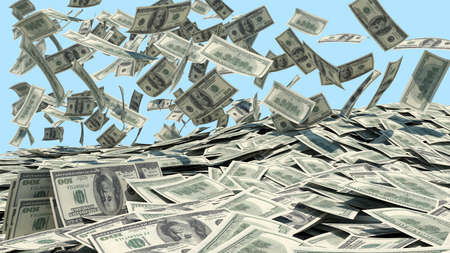 cash flow: Money falling from the sky in a heap  blue background