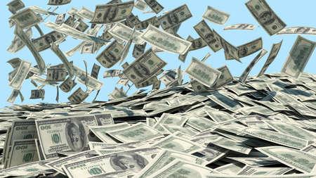 gotówka: Pieniądze spadają z nieba w niebieskim tle sterty Zdjęcie Seryjne