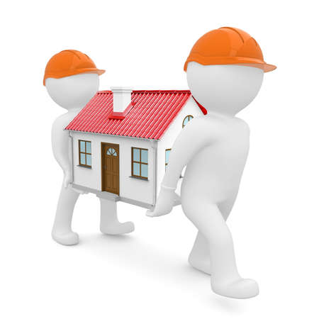 relocate: Two workers in orange hard hats have a house with red roof  Isolated on white background Stock Photo