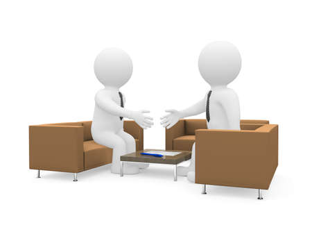 client meeting: Handshake of two businessmen after signing the contract  Isolated on white background Stock Photo