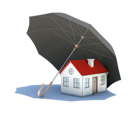 Umbrella covering the house  Isolated on white background photo