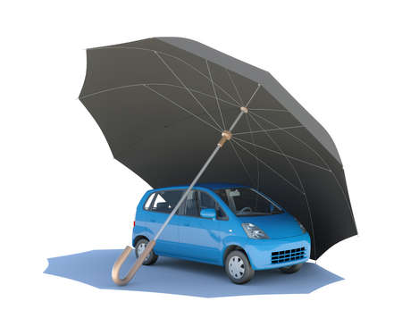 Umbrella covering blue car  Isolated on white background photo