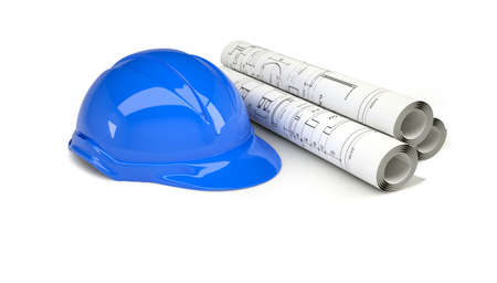 building blueprint: Blue helmet near the scrolls drawings  Isolated on white background