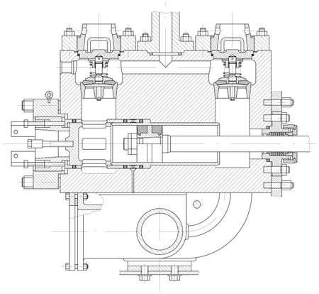idraulico: Sketch idraulico a pistone corpo pompa