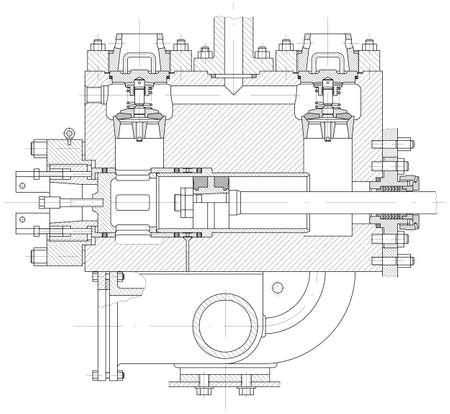 dibujo tecnico: Sketch pistón hidráulico de la bomba parte