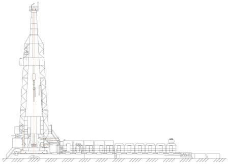 mechanical engineer: Sketch. oil derrick Illustration