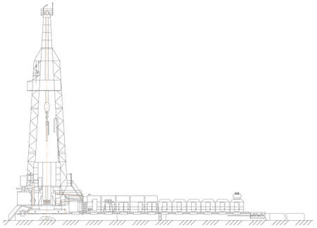derrick: Sketch. oil derrick Illustration
