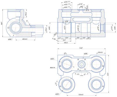 housing plan: Sketch. Hydraulic unit of the piston pump Illustration