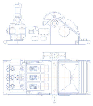 triplex: Sketch. Drilling triplex pump Illustration