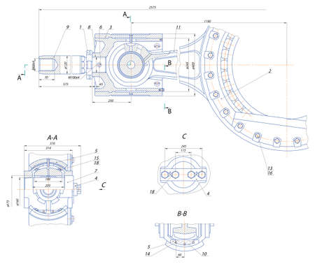 ベアリング: スケッチ。クロスヘッド変位ポンプ機構