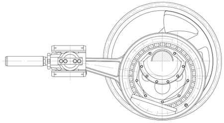 mechanical: Schets. Het aandrijfmechanisme zuigerpomp Stock Illustratie