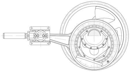 technical drawing: Sketch. The drive mechanism piston pump