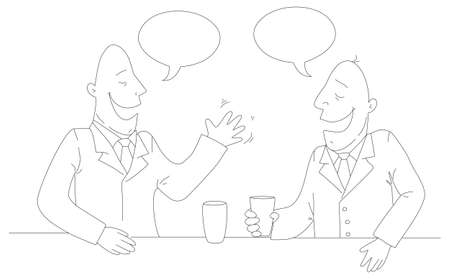 co: Two businessman drinking tea