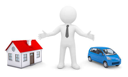 estate car: White man indicates his hands on the house and car  Isolated render on a white background