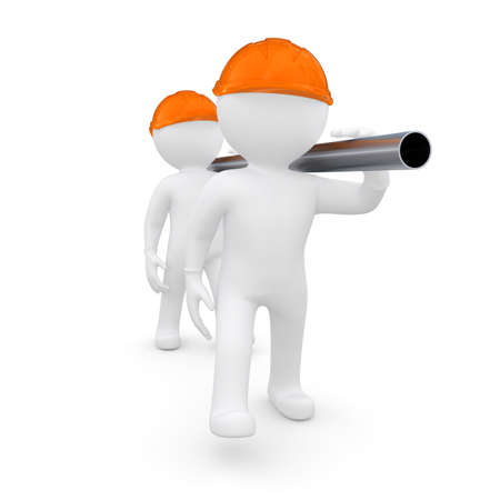 Two workers in helmets are a metal pipe  Isolated render on a white background Stock Photo - 15702876