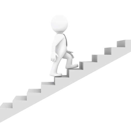 White man goes up the ladder  Isolated render on a white background Stock Photo - 15702880