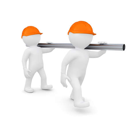 relocate: Two workers in helmets are a metal pipe  Isolated render on a white background