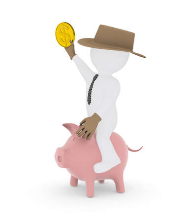Businessman cowboy riding on piggy bank  Isolated render on a white background photo