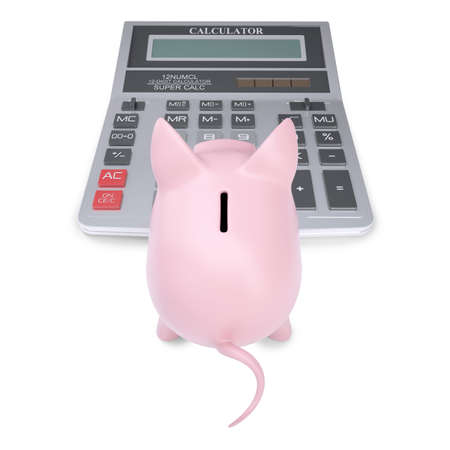 Pink piggy bank on a calculator  Isolated render on a white background Stock Photo - 15778283