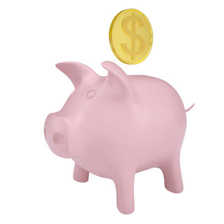 Gold coin drops into a pink piggy bank  Isolated render on a white background photo