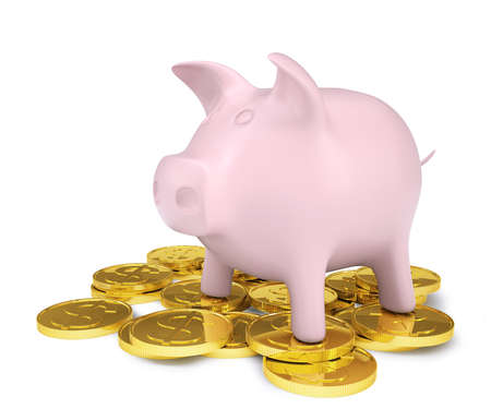 denominational: Pink piggy bank standing on a pile of coins with gold  Isolated render on a white background