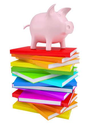 college fund savings: Pink piggy bank on a stack of colorful books  Isolated render on a white background Stock Photo