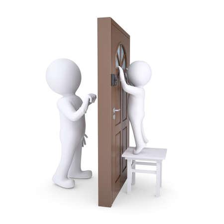 tocar la puerta: Uninvited Guest llama a la puerta, el niño mira por la ventana el visitante render aislado en un fondo blanco
