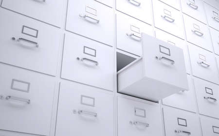 drawers: Office bookcase with drawers  One box is open  3d rendering Stock Photo