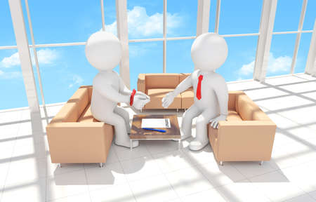 hands tied: 3d human with his hands tied signing a contract. Render - Interior of office building Stock Photo
