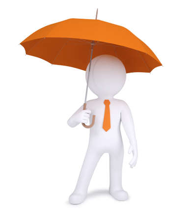 3d human holding an orange umbrella  Isolated on white background