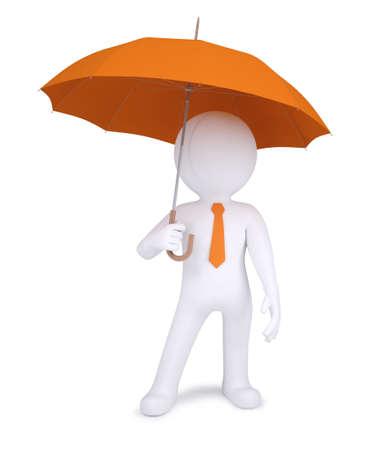 3d human: Humano 3d que sostiene un paraguas naranja aislada sobre fondo blanco Foto de archivo