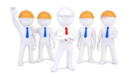 contributor: Five 3d little men in hard hats  Isolated on white background