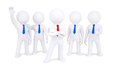 contributor: Five 3d human  Isolated on white background Stock Photo