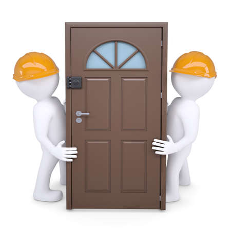 Two 3d human hold the door in their helmets  Isolated on white background Stock Photo - 16201781