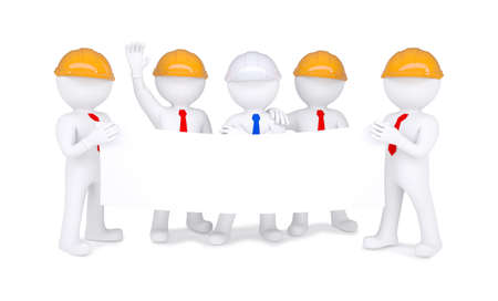 Five 3d little men in helmets holding white poster  Isolated on white background photo