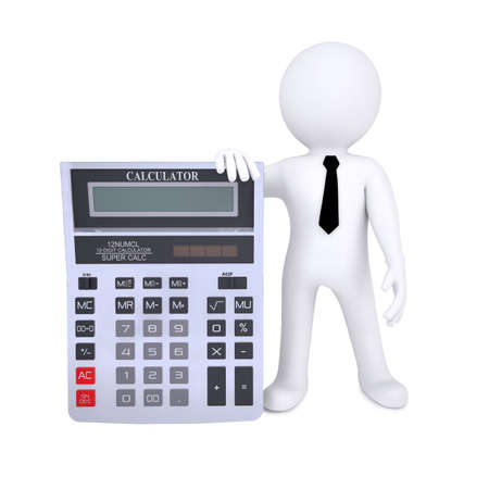 3d human with a calculator  Isolated on white background