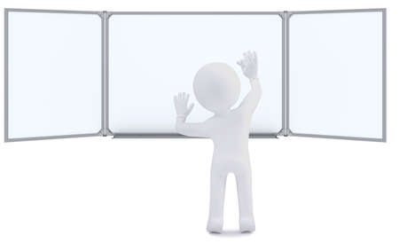 3d human with chalk writing on the whiteboard  Isolated on white background Stock Photo - 16201718